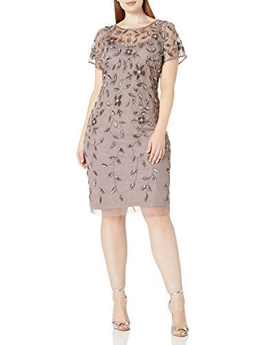 Adrianna Papell Women's Plus-Size Short Sleeve Beaded Cocktail Dress, Stone, 18W