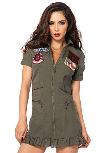 Leg Avenue Women's Top Gun Flight Zipper Front Dress Costume, Green, Large