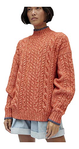 Claudia Li Oversized Cable Knit Sweater (Orange Melange, XS)