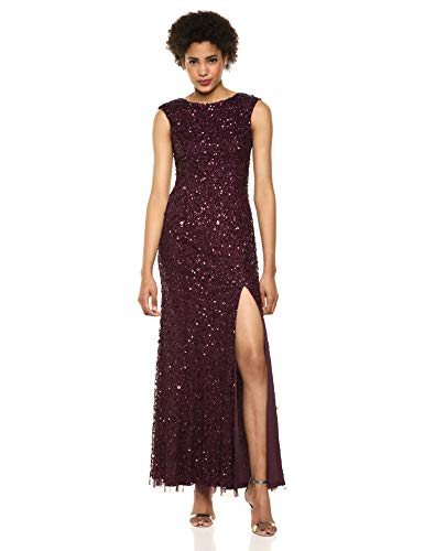 Adrianna Papell Women's Plus Size Sequin Beaded Gown with Cap Sleeves and Boat Neckline, Night Plum, 18