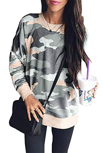 BTFBM Women's Leopard Print Long Sleeve Crew Neck Fit Casual Sweatshirt Pullover Tops Shirts (Pink/Gery Camo, Large)