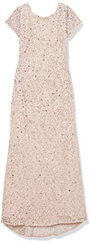 Adrianna Papell Women's Plus-Size Scoop-Back Long Beaded Gown, Blush, 22W