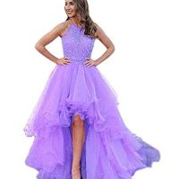 Women's High Low Beading Organza Prom Dresses Sequined Halter Evening Ball Gown Lavender US4