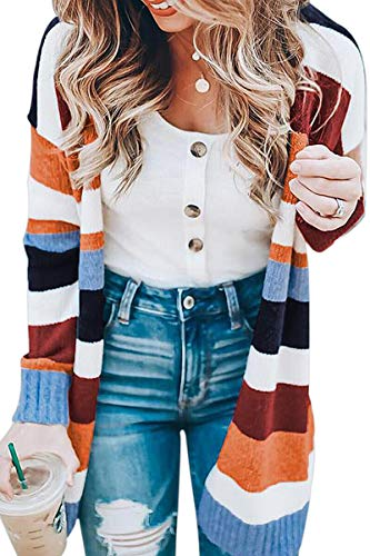 ECOWISH Womens Floral Striped Draped Kimono Cardigan Long Sleeve Open Front Casual Knit Sweaters Coat Floral S
