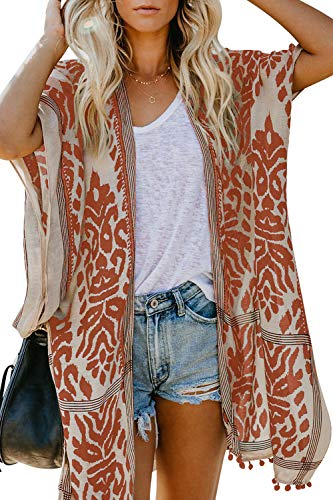 Arainlo Women's Printed Fashion Kimono Tassel Casual Beach Loose Cover Up Orange