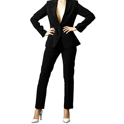 SUIT HEEL Women's One Button Single Suit Elegant Business Two Piece Office Lady Suit Set Work Blazer Pants #Black (Medium)