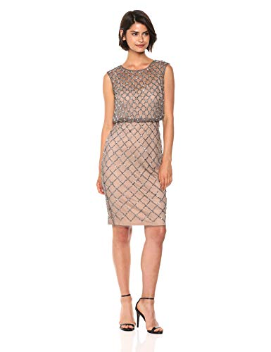 Adrianna Papell Women's Plus Size Classy Subtle Beaded Cocktail Dress with Ruffle Skirt, Lead/Nude, 16W