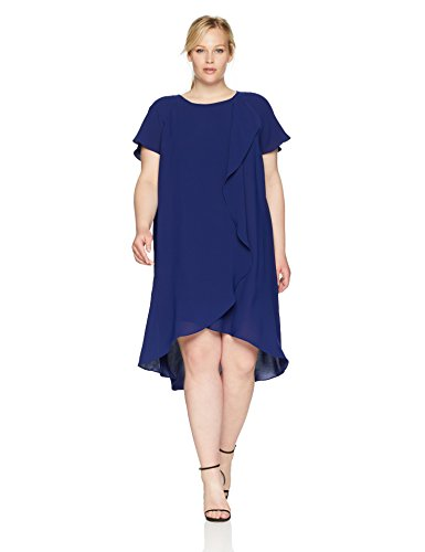 Adrianna Papell Women's Size Plus Gauzy Crepe Corkscrew Drape Dress, Blue Sapphire, 18W