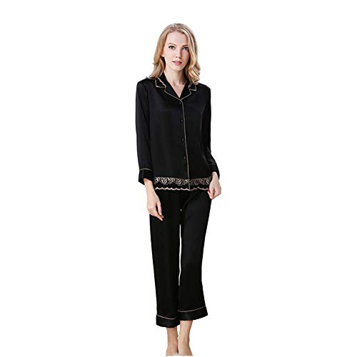 MA Womens Silk Satin Pajamas Set Homewear Suits Full Button is Easy to Put On and Take Off Not Easy to Fade Easy to Maintain Soft Breathable Smooth Lightweight Allergic to Long SleevesAll Seasons