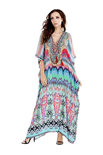 Maxi Bohemian Caftans Printed Multi Colored V-Neck Long Kaftan Dress Cover up Casual Summer