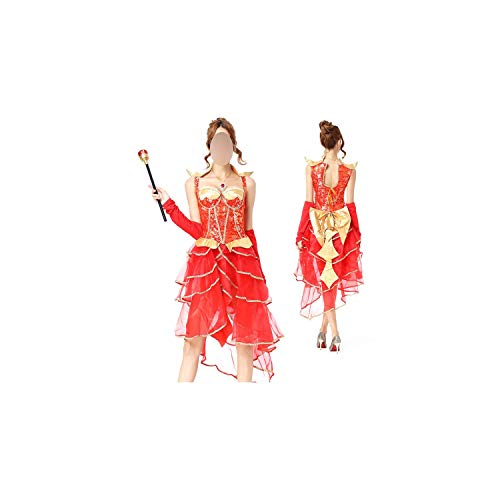 Adult Halloween Couples Bride Vampire Costume High Low Layered Dress Festival Red Cosplay Tiered Outfit,Red