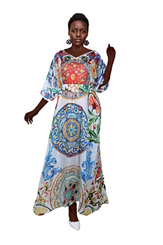 Silk kaftan White Dress, Women White Dress Flower Print Sift Kaftan, Designer Choice Beach White Dress Plus Size