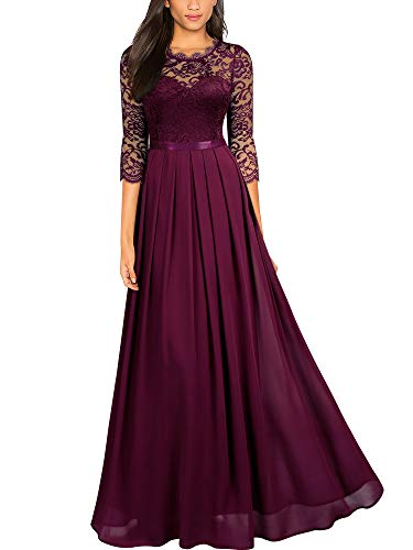 Miusol Women's Formal Floral Lace Wedding Bridesmaid Maxi Dress (Large, A-Magenta)