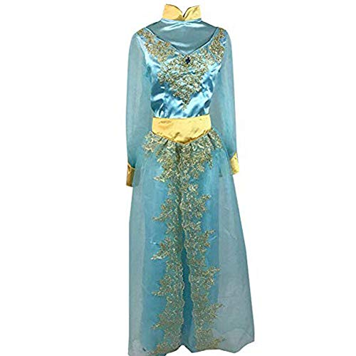 AGLAYOUPIN Adult Women Princess Jasmine Cosplay Costume Halloween (L) Blue