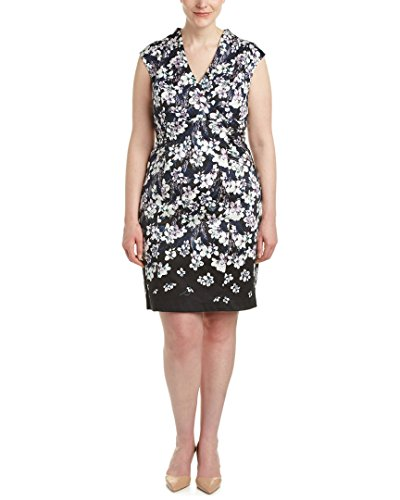 Adrianna Papell Women's Size High Neck Cotton Sheath Dress Plus, Black/Multi, 22W