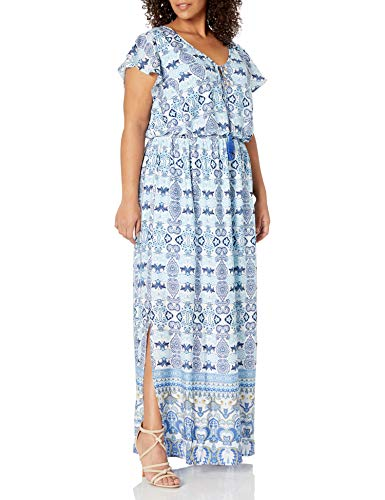 Adrianna Papell Women's Size Printed Maxi Plus, Blue/Multi, 16W