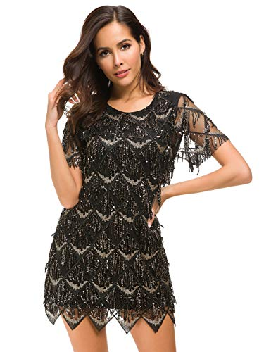 VVMCURVE Women's Sequin Fringe 1920 Short Prom Dress Sequins Art Deco Cocktail Gatsby Party Dress with Short Sleeve (Small, Black)