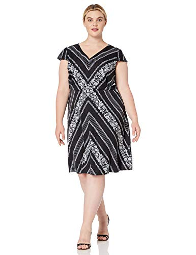 Adrianna Papell Women's Plus Size Botanical Chevron FIT & Flare, Black/Ivory Multi, 22
