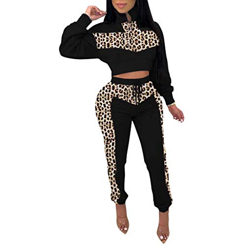 OLUOLIN Womens 2 Piece Tracksuit Long Sleeve Casual Leopard Patchwork Pants Set Black
