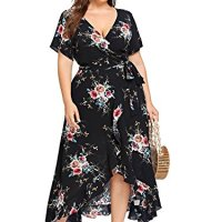 Milumia Plus Size Wrap V Neck Fashion High Low Bohemian Party Maxi Dress Black X-Large Plus
