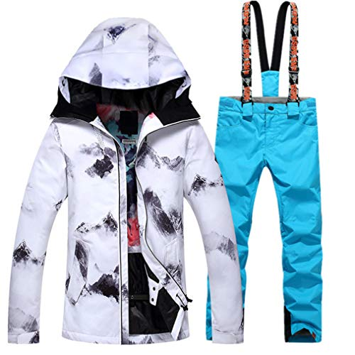 Winter White Windproof Waterproof Ski Jacket+Pants Set Snowboard Ski Suit Skiing Outdoor Camping Snow Clothing