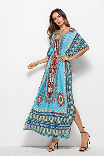 Women's Skirts Women Beach Dress Swimsuit Cover Up Long Bikini Cover Ups Chiffon Robe Flower Print with Belt V-Neck Vintage Beach Wear Women Robe Beach, Vacation (Color : Blue)