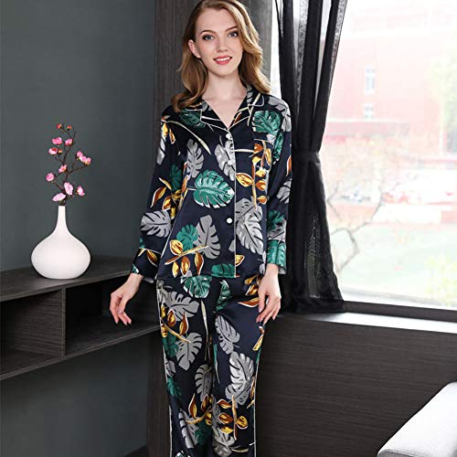 ZWLXY Autumn Real Silk Pajamas Women's Suit Loose and Plus-Sized Long Sleeve Two-Piece Set Mulberry Silk-Outer Wear Tracksuit,Black,M