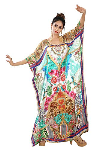 Plus Size Long Kaftan Resort wear Kaftan Animal Print Kaftan Silk Dress Beach Cover up Kaftan Heavily Embellished Kaftan