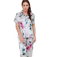 Pyjama Sets Silk Ink Painting V-Neck Comfortable and Breathable Thin Silk Home Service Pajamas Two-Piece Suit