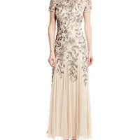 Adrianna Papell Women's Floral Beaded Godet Gown, Taupe/Pink, 8