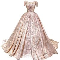 Unbranded Luxury Scoop Neck Appliques Flower Sequins Beading Tassel Court Train Ruffle Formal Dresses