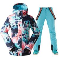 Women's Insulated Windproof Waterproof Printed Hooded Skiing Jacket Pants Suits Winter Coats Bibs…
