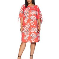 Adrianna Papell Women's Size Plus Lovely Lady Elbow Sleeve Shift Dress, Bright Bellini Multi, 22W