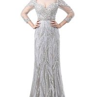Ikerenwedding Women's Scoop Rhinestone Sequins Tulle Evening Dress with Sleeves Silvery US6