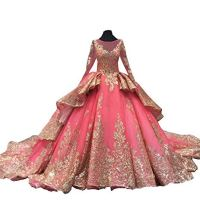 Gold Sequins Lace Formal Dresses Evening with Sleeves Royal Train Wedding Dress Ruffle Coral 18plus