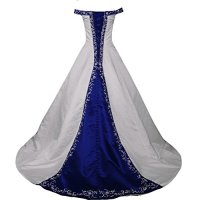 Kivary White and Royal Blue Off Shoulder A Line Beaded Bridal Embroidery Wedding Dresses US 4