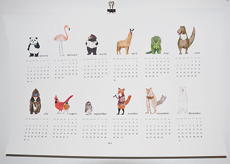 2012 Animal Wall Calendar by Katie Viggers