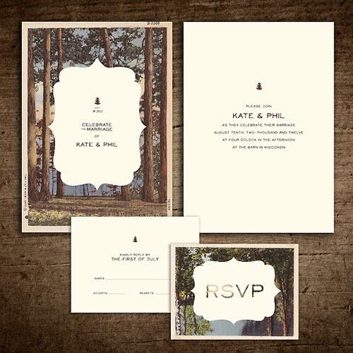 Rustic vintage postcard invitation suite