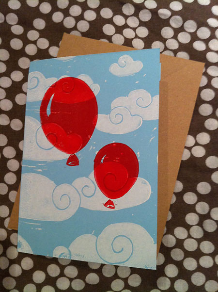 Linocut Balloons in the sky Card / notelet from Vicky Day