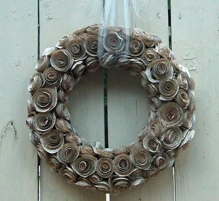 Wreath made of vintage book pages - Maggie Paggie Designs