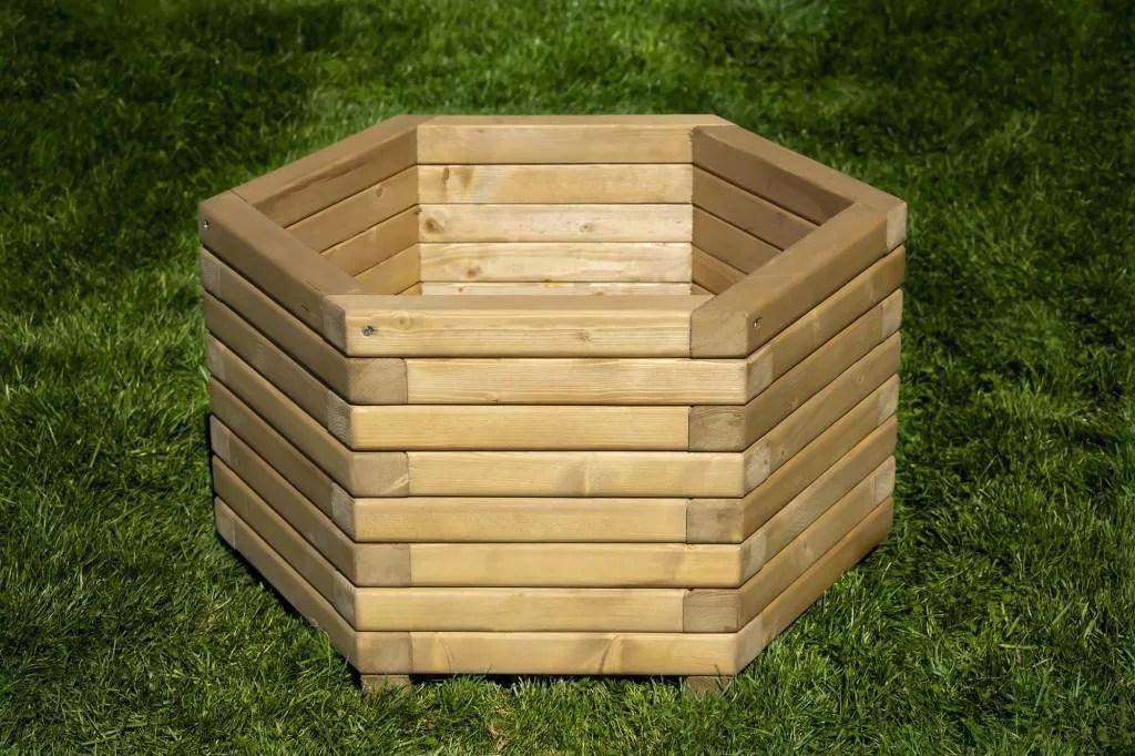 Hexagon Wooden Planter Planters Pretty Planter
