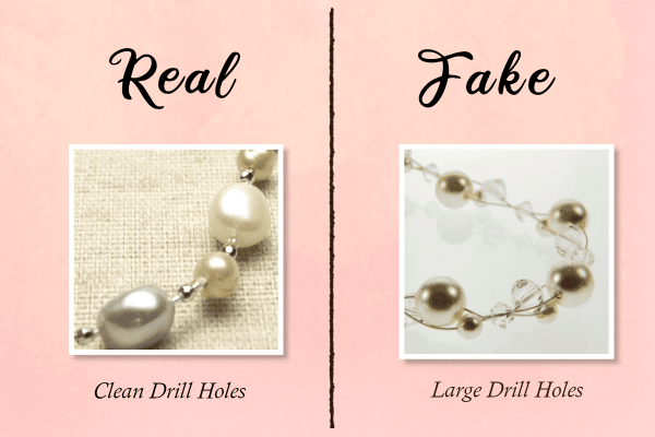 fake vs real pearls - drill holes