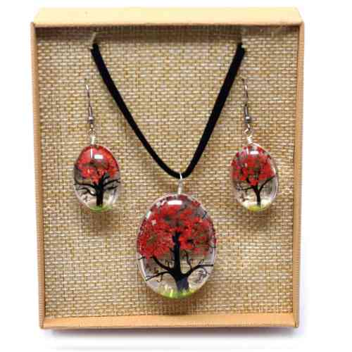 Coral Pressed Flower Necklace Set With Earrings