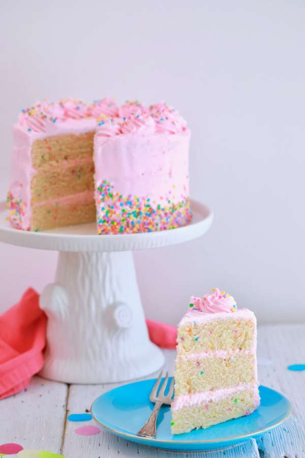 3 Layer No-bake Cake with Pink Frosting and Sprinkles