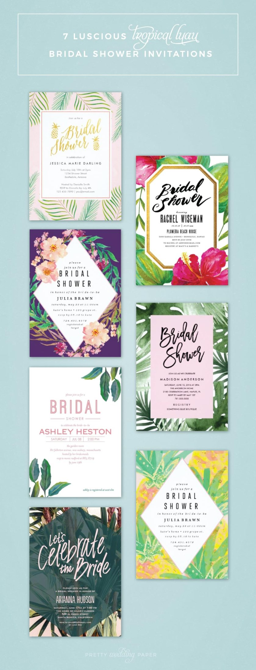 Geous Bridal Shower Invitations For A Tropical Or Luau Party Pretty
