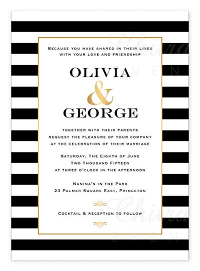 Fancy Black White Gold Wedding Invitations From Etsy