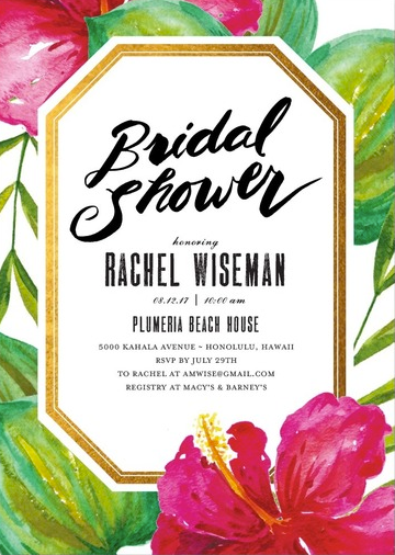 Pink Hibiscus Tropical Bridal Shower Invitations