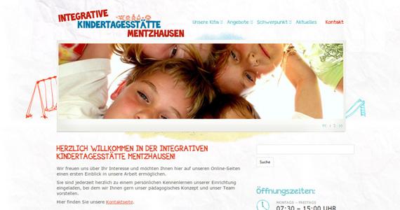 Startseite des neuen Internetauftritts der Integrativen Kindertagesstätte Mentzhausen