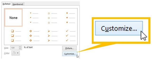 Customize Option