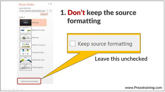 Source Formatting of Slides